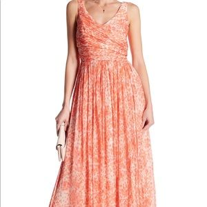 J.Crew Heidi Long Silk Chiffon Dress - Guava